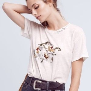 Anthropologie | Postmark Embroidered Giddy Up Tee